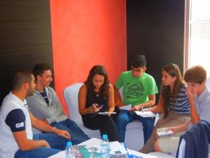 Louis, Sasha and Yuval engaging in dialogue with the Jordanian youth
