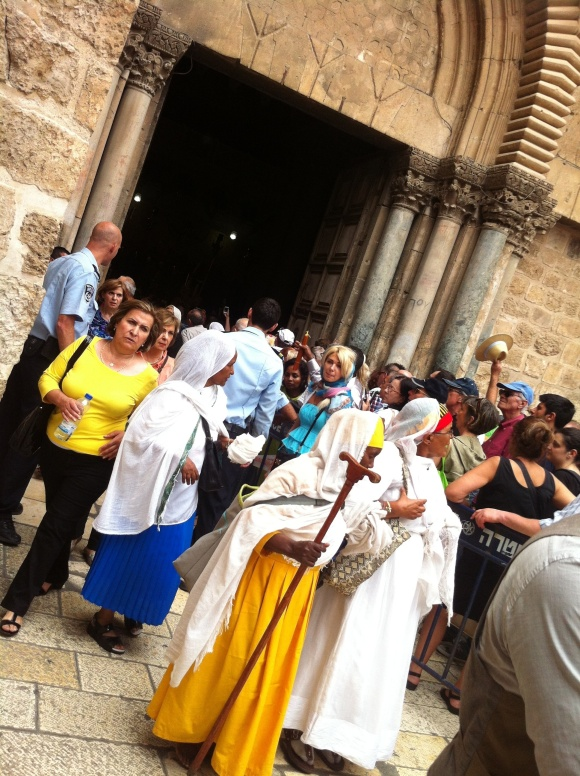 Pilgrims entering the Church of the Holy Sepulcher.