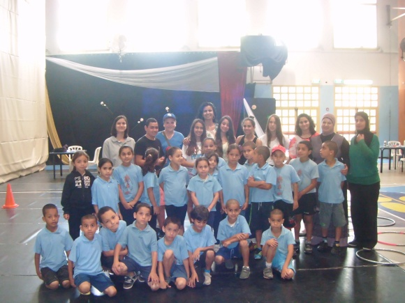 Kids4Peace staff and youth with the Ahva School first graders!