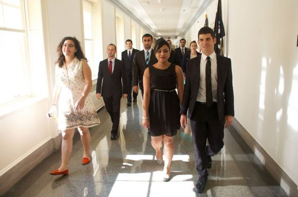 The 2014 class of Palestinian & Israeli interns with New Story Leadership