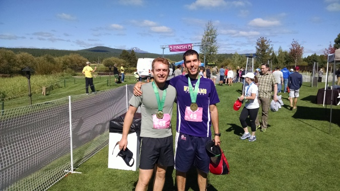K4P Northwest Regional Director Jordan Goldwarg and Sam McVeety at the finish line of the Sunriver Marathon.